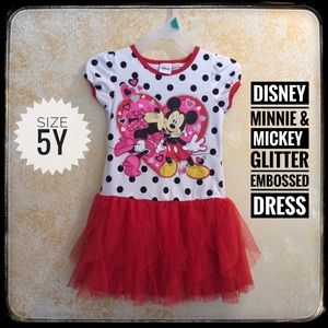 "❤️3/$15 Disney ""Minnie & Mickey glitter dress!"